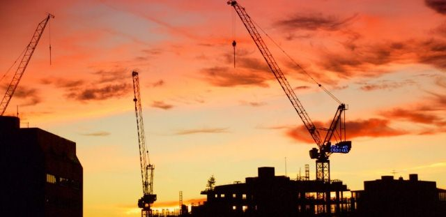 sunset on the construction site, Tower Crane Equipment