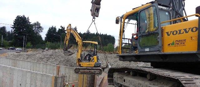 Excavator lifting capacity chart
